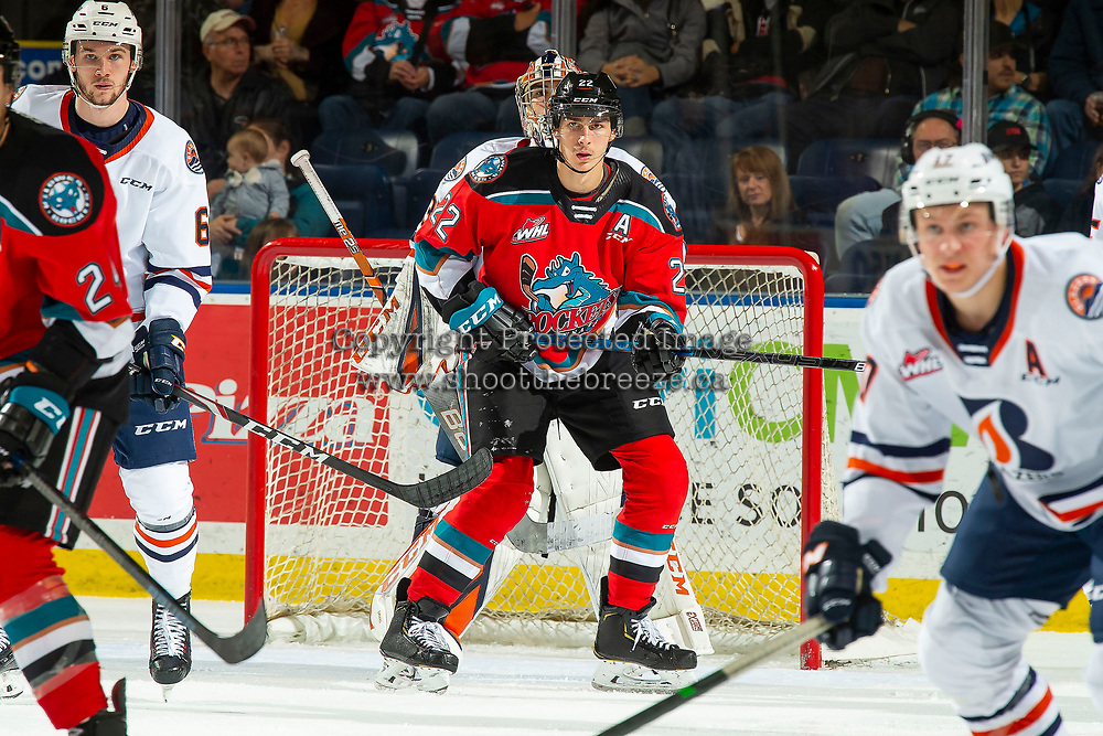 KELOWNA, BC - OCTOBER 12: Dillon Hamaliuk #22 of the Kelowna Rockets looks for the pass to the net against the Kamloops Blazers at Prospera Place on October 12, 2019 in Kelowna, Canada. Hamaliuk was selected by the San Jose Sharks in the 2019 NHL entry draft. (Photo by Marissa Baecker/Shoot the Breeze)