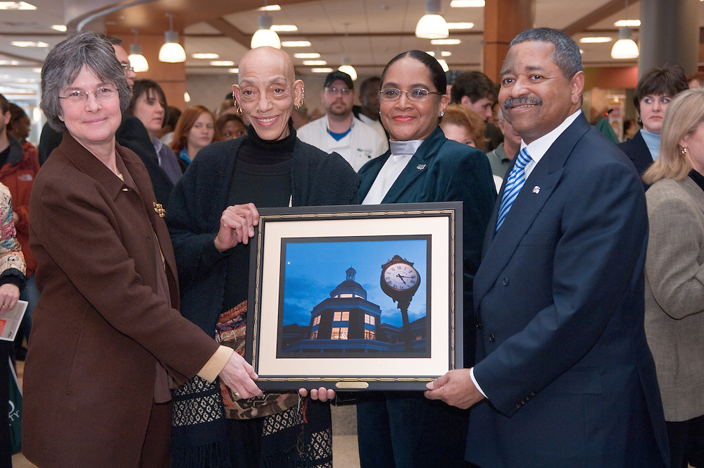 Baker Center Dedication..Dedication of Art Installation.Aminah Robison-Images that lead to the book? A Street Called Home?-Depicts scenes from Poindexter Village ..Kathy Krendl, Aminah Robison Mrs. & Dr. McDavis