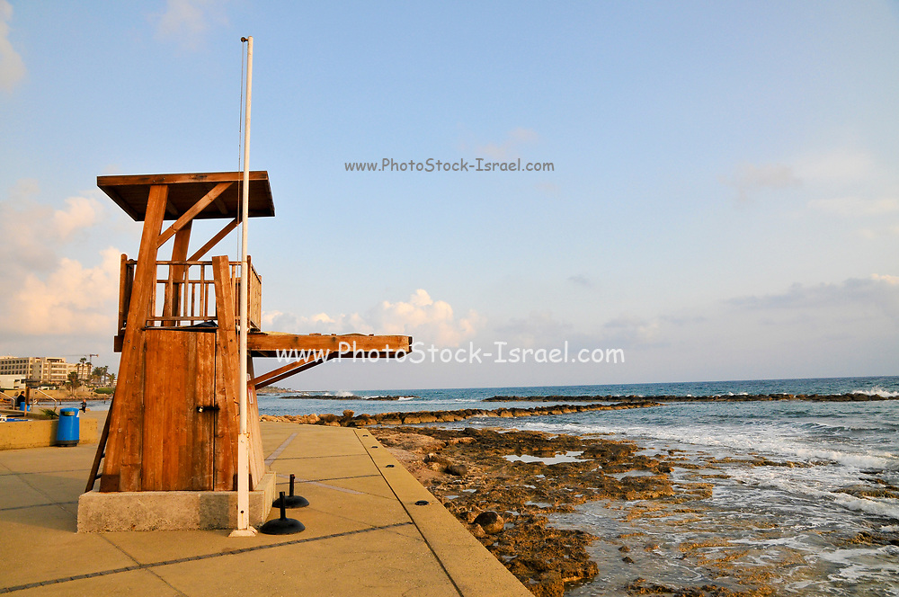 life guard station on the beach at Paphos, Cyprus
