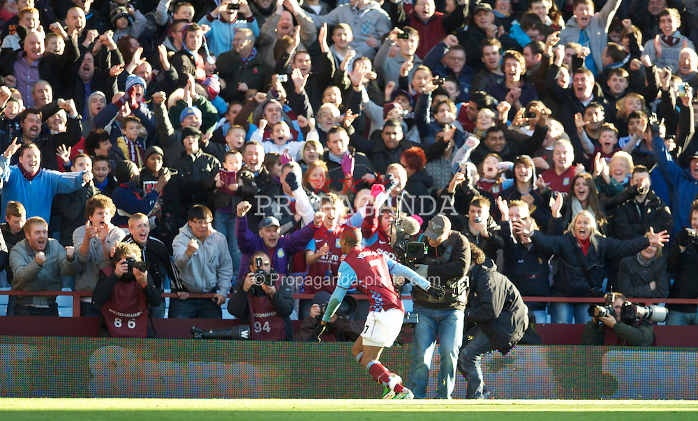 BIRMINGHAM, ENGLAND - Saturday, November 13, 2010: Aston Villa supporters celebrate as Ashley Young scores a penalty against Manchester United during the Premiership match at Villa Park. (Photo by David Rawcliffe/Propaganda)