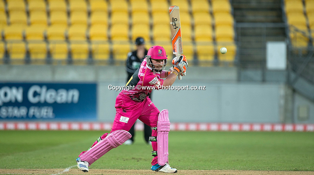 Tim Seifert of the Knights bats during the Georgie Pie Super Smash Volts v Knights cricket match at the Westpac Stadium in Wellington on Sunday the 23rd of November 2014. Photo by Marty Melville/www.Photosport.co.nz