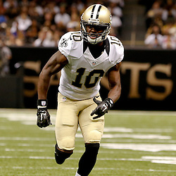 Aug 15, 2014; New Orleans, LA, USA; New Orleans Saints wide receiver Brandin Cooks (10) against the Tennessee Titans during a preseason game at Mercedes-Benz Superdome. Mandatory Credit: Derick E. Hingle-USA TODAY Sports