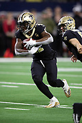 New Orleans Saints running back Alvin Kamara (41) runs the ball for no gain on a fourth down fourth and goal attempt from the Dallas Cowboys one yard line in the second quarter during the NFL week 13 regular season football game against the Dallas Cowboys on Thursday, Nov. 29, 2018 in Arlington, Tex. The Cowboys won the game 13-10. (©Paul Anthony Spinelli)