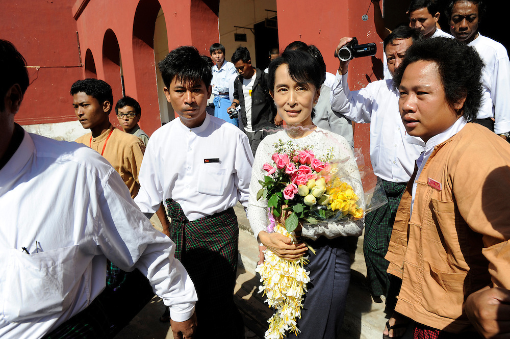 The National League of Democracy (NLD) head, Pro-democracy leader Aung San Suu Kyi leaves the Thanlynn Electoral Commission Office after registering to run in a by-election, for the  parliamentary seat in Kawhmu, in polls on April 1st, 2012. Januaray 18, 2012....