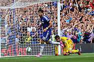 Diego Costa of Chelsea scores his hatrick against Swansea City during the Barclays Premier League match at Stamford Bridge, London<br /> Picture by David Horn/Focus Images Ltd +44 7545 970036<br /> 13/09/2014