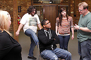(from left) Karen Jaffe of Washington Township, Aaron Phillips of Dayton, .CJ Jones of Riverside, Kathy Roll of Dayton and Dwight McCormick of Springfield during a Lofty Aspirations improv class at The Livery in the Oregon Arts District in Dayton, Wednesday, February 15, 2012.