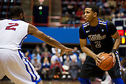 DALLAS, TX - JANUARY 6:  Pat Swilling Jr. #2 of the Tulsa Golden Hurricane brings the ball up the court against the SMU Mustangs on January 6, 2013 at Moody Coliseum in Dallas, Texas.  (Photo by Cooper Neill/Getty Images) *** Local Caption *** Pat Swilling Jr.