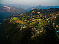 Photo taken on March 28, 2016 shows the terraced fields in Xiaozhoushan Township of Qingtian County, east China's Zhejiang Province. EXPA Pictures © 2016, PhotoCredit: EXPA/ Photoshot/ Xu Yu<br /> <br /> *****ATTENTION - for AUT, SLO, CRO, SRB, BIH, MAZ, SUI only*****