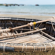 Traditional Vietnamese fishing boat on beach at Danang, cental Vietnam