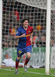 Lionel Messi of Barcelona celebrates scoring during the UEFA Champions League quarter final first leg match between FC Barcelona and FC Bayern Munich at the Camp Nou stadium on April 8, 2009 in Barcelona, Spain.
