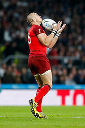England Full Back Mike Brown takes a high ball - Mandatory byline: Rogan Thomson/JMP - 07966 386802 - 18/09/2015 - RUGBY UNION - Twickenham Stadium - London, England - England v Fiji - Rugby World Cup 2015 Pool A.