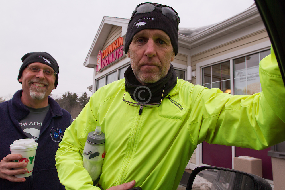 Gary Allen runs from Maine to Washington DC, fueling up at the Dunkin Donuts outside Wiscassett with run support Bill Goodrich