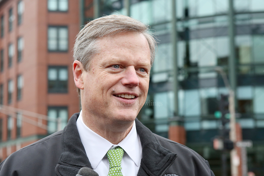 (Boston, MA - 3/15/15) Gov. Charlie Baker talks with reporters prior to marching in the St. Patrick's Day Parade in South Boston, Sunday, March 15, 2015. Staff photo by Angela Rowlings.