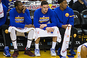 Golden State Warriors guard Klay Thompson (11) sits the fourth quarter out after scoring 60 points against the Indiana Pacers at Oracle Arena in Oakland, Calif., on December 5, 2016. (Stan Olszewski/Special to S.F. Examiner)