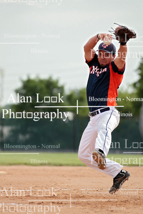 27 June 2014:   Jose DeLeon during a Mens Professional Fastpitch Softball game between the Central Illinois Knights from Villa Grove and the Bloomington Stix from Bloomington, played at O'Neil Park in Bloomington, Illinois