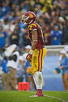 17 October 2012: Wide receiver (2) Robert Woods of the USC Trojans waits for a punt while playing against the UCLA Bruins during the second half of UCLA's 38-28 victory over USC at the Rose Bowl in Pasadena, CA.
