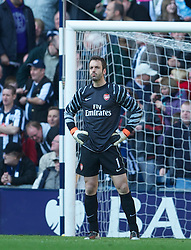 WEST BROMWICH, ENGLAND - Saturday, March 19, 2011: Arsenal's goalkeeper Manuel Almunia looks dejected as West Bromwich Albion score the second goal during the Premiership match at the Hawthorns. (Photo by David Rawcliffe/Propaganda)