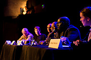 "Michael Ford, the ""Hip Hop Architect,"" makes a point on the Capital Times panel discussion: ""How can Madison build more great neighborhoods?"" at High Noon Saloon in Madison, Tuesday, November 7, 2017."