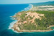 Aerial view of the Cape Moreton lighthouse, Moreton Island, Queensland, Australia