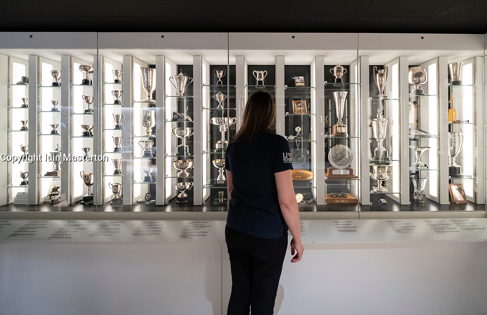 Duns, Scotland, UK. 29 August 2019. Official opening of the new Jim Clark Motorsport Museum in Duns, Berwickshire, UK. The museum was opened by Sir Jackie Stewart and is operated but the Jim Clark trust.  Pictured. New trophy room at the museum. Iain Masterton/Alamy Live News.