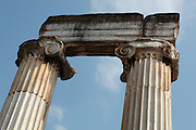 Ionic columns from the Temple of Aphrodite, begun 1st century BC and finished during the reign of Roman Emperor Augustus, Aphrodisias, Aydin, Turkey. 14 of the over 40 Ionic columns of the temple remain today, as well as the foundations of the cellars. The temple formed the centre of the city and occupies its Northern section. It was later altered when it became a Christian basilica. Many examples of statuary have been found around the temple (there is a marble quarry close by) and it is thought that a school of sculpture was based here. Aphrodisias was a small ancient Greek city in Caria near the modern-day town of Geyre. It was named after Aphrodite, the Greek goddess of love, who had here her unique cult image, the Aphrodite of Aphrodisias. The city suffered major earthquakes in the 4th and 7th centuries which destroyed most of the ancient structures. Picture by Manuel Cohen