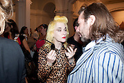 PAM HOGG; MAT COLLISHAW; , Private view and Summer party to celebrate Haunch of Venison's exhibition. Joanna Vasconcelos; I will Survive and Polly Morgan: Psychopomps. Dover st. arts Club. 20 July 2010. -DO NOT ARCHIVE-© Copyright Photograph by Dafydd Jones. 248 Clapham Rd. London SW9 0PZ. Tel 0207 820 0771. www.dafjones.com.