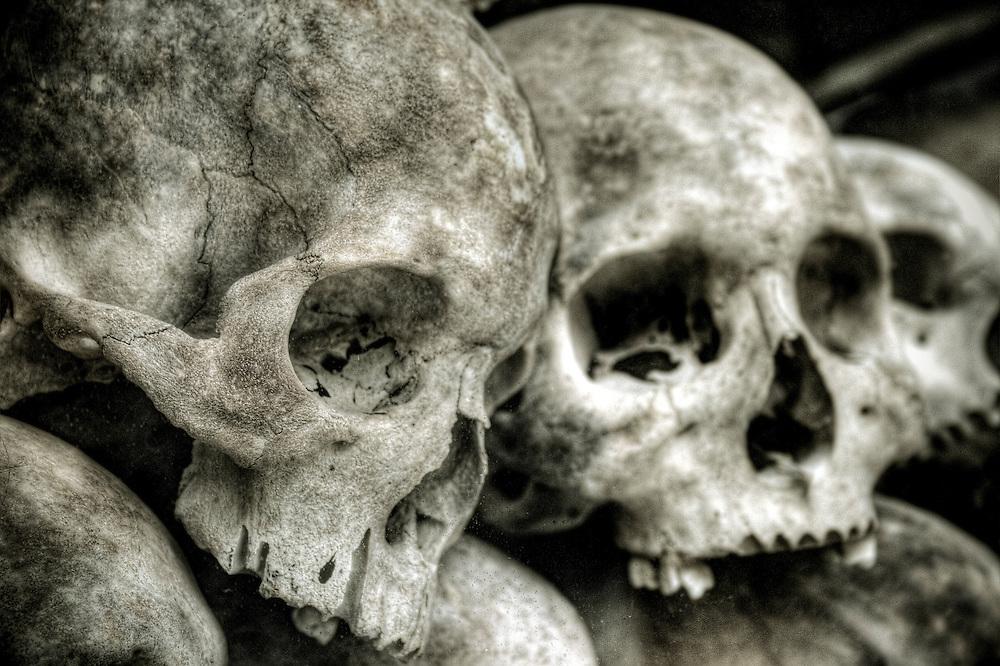 Skulls at the Killing Fields in Cambodia
