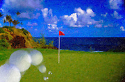 Golf Ball Landing on Ocean Green, Red Flag