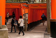 The famous torii (gates) of Fushimi Inari Shrine.