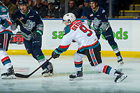KELOWNA, CANADA - FEBRUARY 23:  Marek Skvrne #9 of the Kelowna Rockets takes a shot against the Seattle Thunderbirds on February 23, 2018 at Prospera Place in Kelowna, British Columbia, Canada.  (Photo by Marissa Baecker/Shoot the Breeze)  *** Local Caption ***