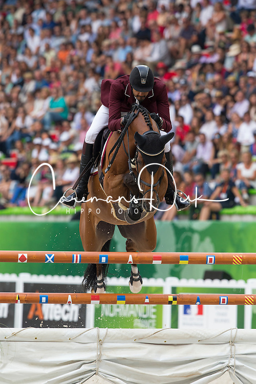 Shaikh Ali bin Khali Al Thani, (QAT), Eurocommerce California - World Champions, - Second Round Team Competition - Alltech FEI World Equestrian Games&trade; 2014 - Normandy, France.<br /> &copy; Hippo Foto Team - Leanjo De Koster<br /> 25/06/14