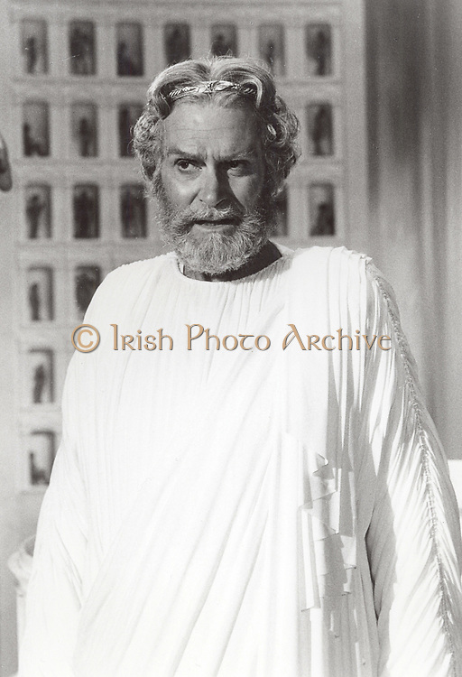 Laurence Olivier (1907-1989) English actor, producer and director. Still of Olivier as the god Zeus from the 1981 film 'Clash of the Titans'. MGM.