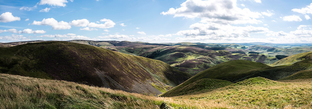 29th August 2016. Looking west across the Scottish Borders and Northumberland on Dere Street in the Cheviot Hills near Hownam.