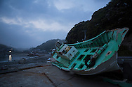 "A boat on Obama Beach (""Small Beach"" in Japanese), Iwaki, Fukushima Prefecture, Japan."
