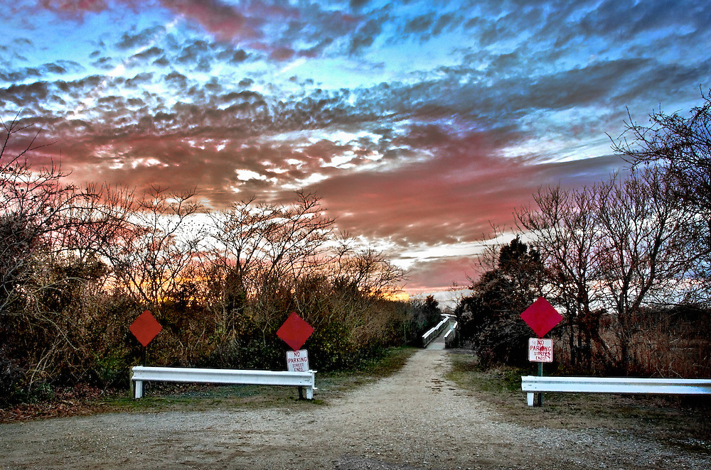 A dead end street at sunset in Cape May, New Jersey.