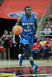 26 February 2014:  Manny Arop during an NCAA Missouri Valley Conference (MVC) mens basketball game between the Indiana State Sycamores and the Illinois State Redbirds  in Redbird Arena, Normal IL.