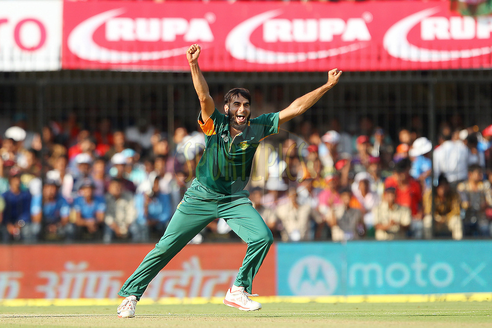 Imran Tahir of South Africa celebrates the wicket of Bhuvneshwar Kumar of India  during the 2nd Paytm Freedom Trophy Series One Day International ( ODI ) match between India and South Africa held at the Holkar Stadium in Indore, India on the 14th October 2015<br /> <br /> Photo by Ron Gaunt/ BCCI/ Sportzpics