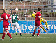 Fiona McNicoll pulls off a fantastic save to deny Hibs - Forfar Famington v Hibernian Ladies in the Scottish Womens Premier League at Station Park, Forfar<br /> <br /> <br />  - &copy; David Young - www.davidyoungphoto.co.uk - email: davidyoungphoto@gmail.com