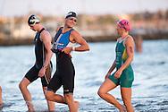 Clayton Fettell (AUS) and Emma Moffat (AUS), February 9, 2014 - Triathlon : Geelong Ironman 70.3, Eastern Beach Precinct, Geelong, Victoria, Australia. Credit: Lucas Wroe