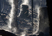 Sunday, September 22, 2013<br /> Stanislaus National Forest, Tuolumne County, U.S. - Steam, not smoke, rises from Rim-Fire charred tree stumps in an area of the Stanislaus National Forest bordering Yosemite National Park, following a day of heavy rainfall. The Yosemite area received approximately .68 of rain on the final day of summer.