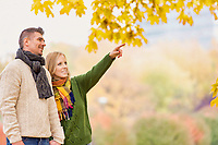 Portrait of attractive couple enjoying autumn in park