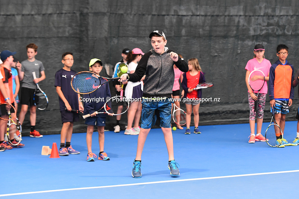 Kids tennis clinic during the ASB Classic ATP Mens Tournament Day 1. ASB Tennis Centre, Auckland, New Zealand. Monday 9 January 2017. ©Copyright Photo: Chris Symes / www.photosport.nz