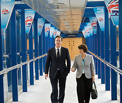Rt Hon David Cameron MP, Prime Minister, walking inside conference centre during the Conservative Party Conference, ICC, Birmingham, Great Britain, October 9, 2012. Photo by Elliott Franks / i-Images.