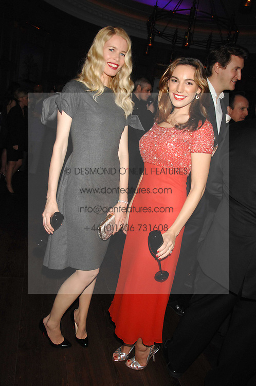 Left to right, CLAUDIA SCHIFFER and KELLY BROOK at a party to launch the Dom Perignon OEotheque 1995 held at The Landau, Portland Place, London W1 on 26th February 2008.<br />