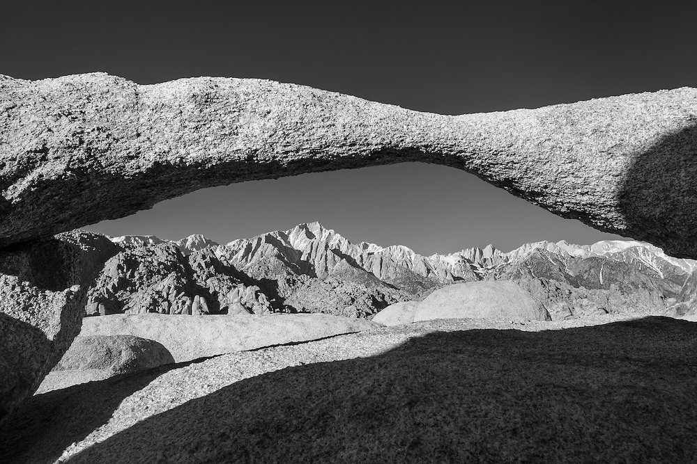 Lathe Arch And Mt Whitney - Alabama Hills CA - Black & White