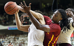 Iowa State's Jameel McKay (1) fights for a rebound with Texas A&M's Tyler Davis (34) during the second half of an NCAA college basketball game, Saturday, Jan. 30, 2016, in College Station, Texas. Texas A&M won 72-62. (AP Photo/Sam Craft)