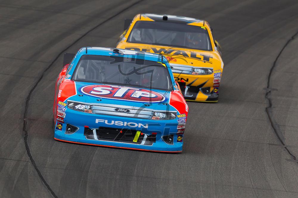 KANSAS CITY, KS - APR 22, 2012: Aric Almirola (43) races during the STP 400 at the Kansas Speedway in Kansas City, KS.