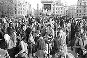 Ravers dancing, 1st Criminal Justice March, Trafalgar Square, London, UK, 1st of May 1994.