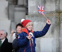Jessica Jones shows off her bronze medal medal and waves a union jack flag - Photo mandatory by-line: Dougie Allward/JMP - Tel: Mobile: 07966 386802 03/03/2014 -