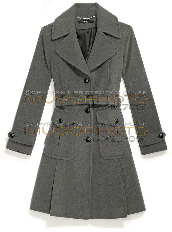 grey dkny wool trench coat with pleats and black buttons